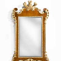 A George II period walnut and parcel gilt mirror. Thumbnail 2