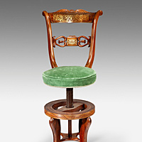 An unusual Regency period rosewood and brass inlaid music chair. Thumbnail 2