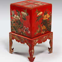 An unusual Meiji period Japanese red lacquer box. Thumbnail 2