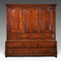 An early Eighteenth Century oak three door housekeeper's cupboard. Thumbnail 2