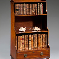 A George III period mahogany waterfall bookcase. Thumbnail 2