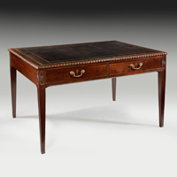 A fine Hepplewhite period mahogany writing table. Thumbnail 2
