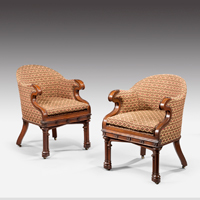 A pair of Gothic revival oak armchairs. Thumbnail 2