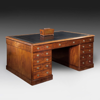 A good mid 19th Century fiddleback mahogany veneered partners desk. Thumbnail 2