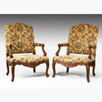 A pair of Louis XV revival carved walnut armchairs. Thumbnail 2