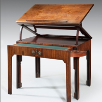 A well patinated Chippendale period mahogany architect's table. Thumbnail 2