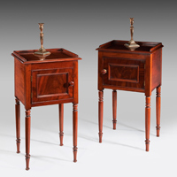 A near pair of early 19th Century mahogany pot cupboards. Thumbnail 2
