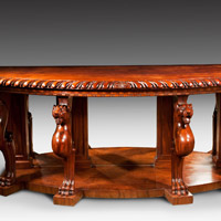 A powerful Regency period carved mahogany console table. Thumbnail 2