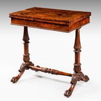 Antique 19th Century games table in yew.