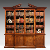 A fine George II period mahogany breakfront bookcase. Thumbnail 2