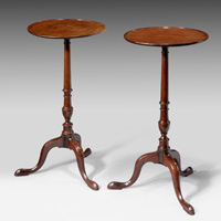 A good pair of George III period mahogany tripod tables.  Thumbnail 2