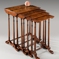 A fine late 19th Century walnut veneered quartetto nest of tables. Thumbnail 2