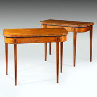 A pair of Sheraton period faded mahogany card tables. Thumbnail 2