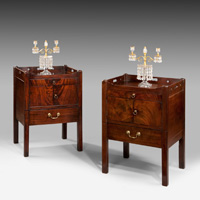 A closely matched pair of Chippendale period mahogany tray top commodes. Thumbnail 2