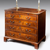 A superb George I period veneered walnut chest of small proportions. Thumbnail 2