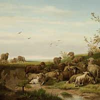 Antique oil painting of sheep