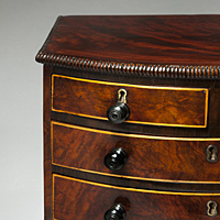 A superb Regency period mahogany miniature chest. Thumbnail 2