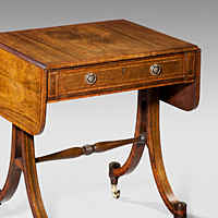 A Regency period rosewood sofa table of small proportions. Thumbnail 2