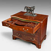 A handsome Chippendale period mahogany serpentine fronted commode. Thumbnail 2
