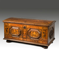 A 17th Century German oak inlaid marriage chest.  Thumbnail 2