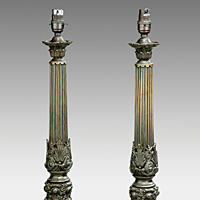 A fine pair of early Nineteenth Century bronze lamps. Thumbnail 2