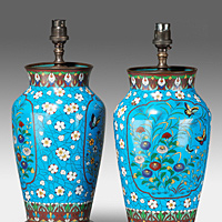 A pair of Chinese late 19th Century cloisonne vases converted to lamps. Thumbnail 2