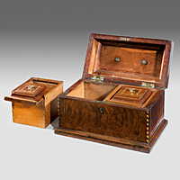 A Chippendale mahogany tea caddy.