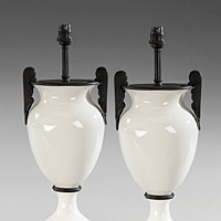Pair of table lamps in white glass and bronze.