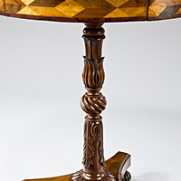 A Regency period parquetry veneered drum table. Thumbnail 3