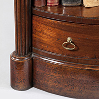 A rare Regency period mahogany open fronted bow shaped bookcase. Thumbnail 3