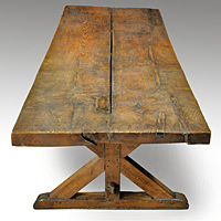 A rare mid 17th Century ash and oak refectory table of large scale. Thumbnail 3