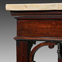 A fine Chippendale period mahogany console table with faux marble painted top.   Thumbnail 3