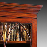 A George III period mahogany 2 door cupboard base bookcase. Thumbnail 3