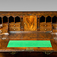 A beautifully patinated Queen Anne period walnut veneered bureau. Thumbnail 3
