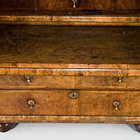 A well patinated Queen Anne period walnut veneered cabinet on chest. Thumbnail 3