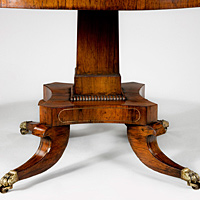 A fine Regency period rosewood veneered and brass inlaid centre table. Thumbnail 3