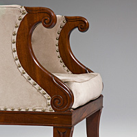 A fine pair of Regency period carved mahogany bergere armchairs. Thumbnail 3