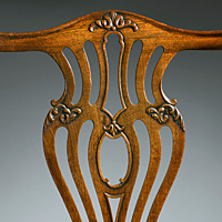 An elegant set of eight (6+2) Chippendale period mahogany dining chairs. Thumbnail 3