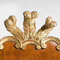 A George II period walnut and parcel gilt mirror. Thumbnail 3