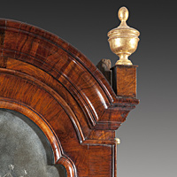A William and Mary period walnut veneered double domed bureau bookcase. Thumbnail 3