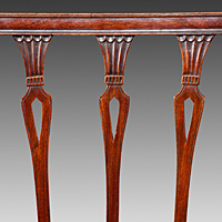 A well patinated set of twelve (10+2) Sheraton period mahogany dining chairs. Thumbnail 3