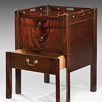 A closely matched pair of Chippendale period mahogany tray top commodes. Thumbnail 3